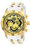 Invicta Men's Pro Diver Scuba 50mm Stainless Steel and Silicone Chronograph Quartz Watch, White/Gold (Model: 23424)