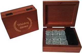 Whiskey Stones Gift Set - Premium Fast Chilling Whiskey Rocks - 9 Pcs Soapstone Whiskey Gift Set Includes Wood Box and Vel...