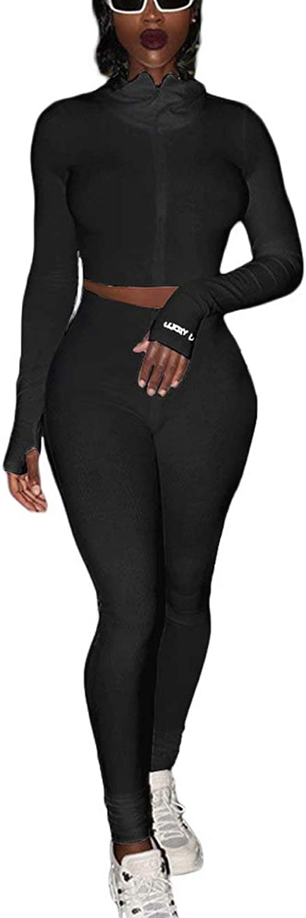Women's Spring new work 2 Piece Sweatsuit Outfits - Ribbed Sleeve Pr Long Letter Beach Mall
