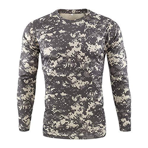 Hombre Militar Táctica Camisa,Ejercito Camuflaje BDU Camisas de Combate Manga Larga Deportes al Aire Libre Cuello Redondo Delgado Ajuste Camiseta para Caza Airsoft Paintball