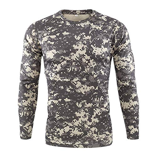 Homme Outdoor Militaire Tactique Chemise Slim Respirant Armée Camouflage BDU Chemises de Combat Col Rond Casual T-Shirt Manches Longues pour Camping Chasse Airsoft