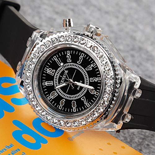 yuge Reloj luminoso para hombre y mujer con luz LED de diamante y flash de silicona Ginebra, reloj de cuarzo negro