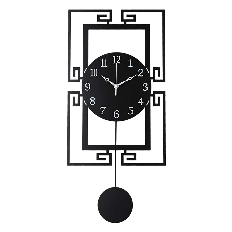 ほとんどの場合抹消原告0 壁時計非カチカチ電池式の新しい中国スタイルのシンプルなデザイン装飾的なサイレントリビングルームの装飾金属クォーツ時計黒大 0