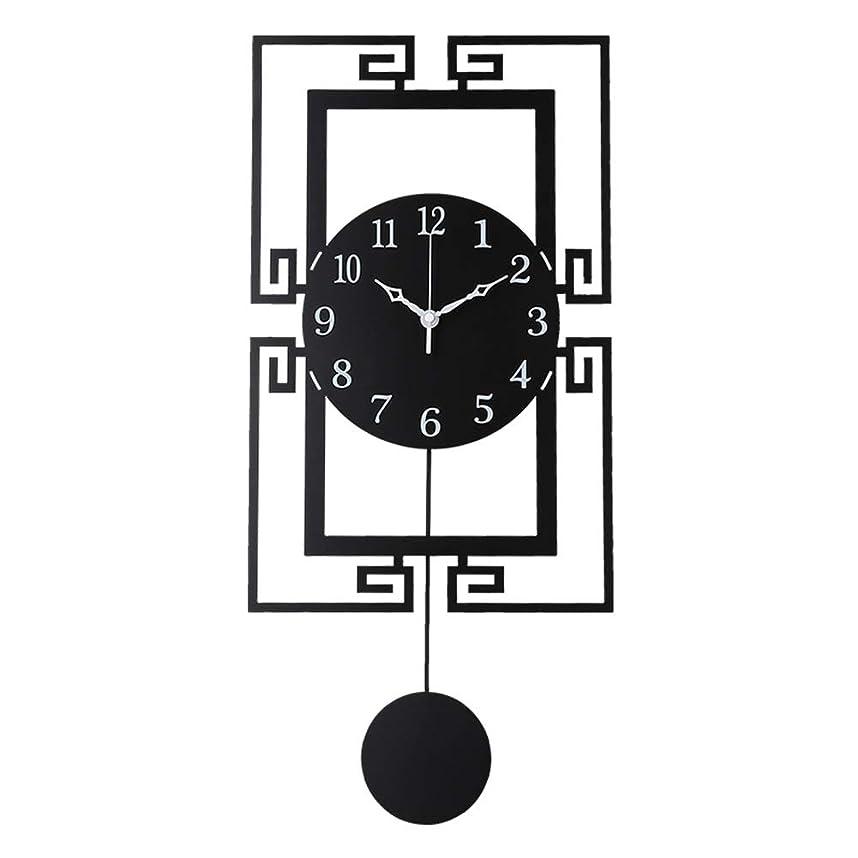 くちばしライセンス内向き0 壁時計非カチカチ電池式の新しい中国スタイルのシンプルなデザイン装飾的なサイレントリビングルームの装飾金属クォーツ時計黒大 0
