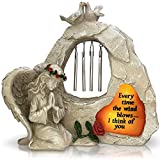 OakiWay Memorial Gifts - Memorial Garden Stone Sympathy Gift, With Wind Chimes & Solar Led...