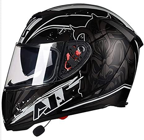 Casco de moto abatible con Bluetooth, casco de moto de calle para scooter, cascos integrales para adultos, jóvenes, hombres y mujeres, viseras, bicicleta para adultos, ciclomotor, motor, casco de mo