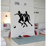 TATOUTEX Stickers 2 Joueurs de Foot - Noir, L 120cm x H 100cm