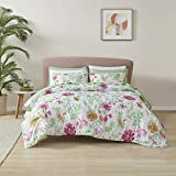 Comfort Spaces Bed in A Bag Comforter Set - College Dorm Room Essentials, Complete Dormitory Bedroom Pack And Sheet with 2 Side Pockets, Queen, Marlene, Daisies Green 9 Piece