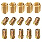 CIIHON Brake Line Fittings Assortment Kit, 3/8 Inch 24 Threads Inverted Flare Fitting Sets for 3/16 Inch Tube(Pack of 15, 5 Unions, 5 Short Nuts, 5 Long Nuts)