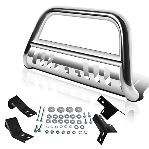 AUTOSAVER88 Bull Bar Compatible for 05-15 Toyota Tacoma 3' Tube Brush Push Grille Guard Front Bumper (Silver)