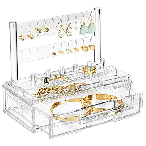 mDesign Plastic Jewelry Organizer Storage Station, 1 Drawer, 6 Ring Holders, Tray for Dressing Table, Cosmetic Station, Dresser, Bathroom Vanity Countertop - Holds Earrings, Watches, Bracelets - Clear