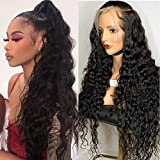 ARIETIS 16 Inch 360 Water Wave Lace Frontal Wigs Human Hair Brazilian Wet and Wave Human Hair Wigs Pre Plucked with Baby Hair 100% Unprocessed Virgin Human Hair 150% Density 360 Water Wave Wigs