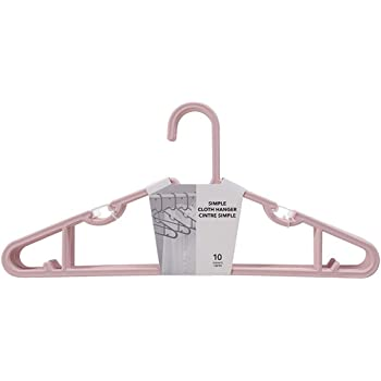 MINISO Simple Clothes Hanger 10-Pack, Dual Use for Hanging Wet and Dry Cloths Strong and Durable PP Material Multiple Colors, Pink