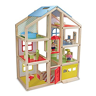 Melissa and Doug Hi Rise Wooden Dollhouse with Furniture and Dolls