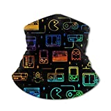 Kids Summer Protection Game Video Gaming Pattern Black Face Mask Neck Gaiters Bandana for Cycling Hiking Sport Outdoor Face Cover Scarf for Boys/Girls/Children/Teenagers Gift