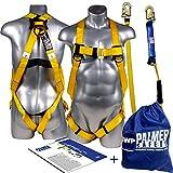Palmer Safety Fall Protection Universal Body Safety Harness w/Detachable 6' Single Leg Lan...