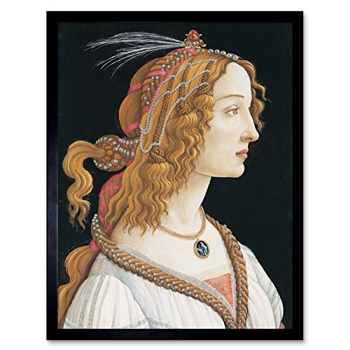 Sandro Botticelli Portrait Young Woman Painting Art Print Framed Poster Wall Decor 12x16 Inch Arena Retrato Joven Mujer Pintura P�ster Pared