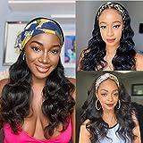 Headband Wigs for Black Women Human Hair Scarf Wig Machine Made Headband Body Wave Human Hair Wigs Headband Human Hair Body Wave Wig Natural Color Body Wave Headband Wigs