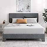 SHA CERLIN Fabric Upholstered Queen Size Platform Bed Frame with Headboard and Wood Slats, Mattress Foundation, No Box Spring Needed, Easy Assembly, Light Grey