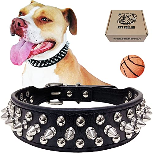 TEEMERRYCA Adjustable Microfiber Leather Spiked Studded Dog Collars with a Squeak Ball Gift for Small Medium Large Pets Like Cats/Pit Bull/Bulldog /Pugs/Husky, Black, XXL 19.7-22.4 inches