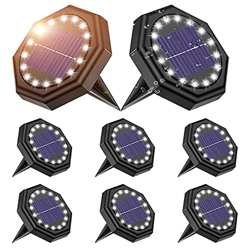 8 Stück Solar Bodenleuchte, Roxona 16LEDs Solarleuchte Solarlampe Aussen Solar Gartenleuchten Kaltweiß Licht Bodenstrahler IP68 Wasserdicht für Rasen Auffahrt Gehweg Patio...