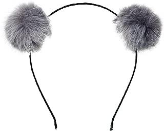 pom pom headband grey