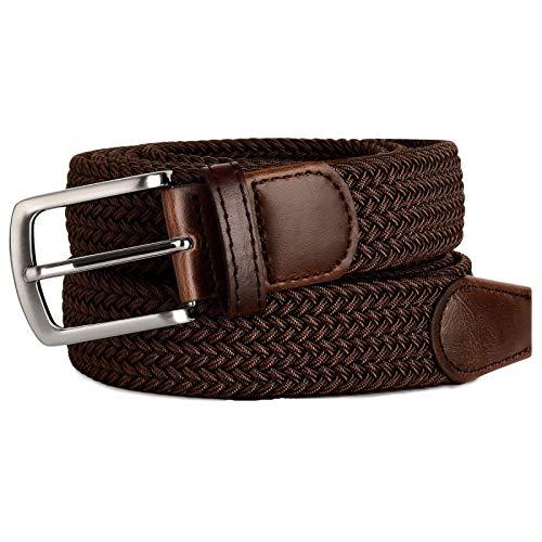 SSM Cinturón para Hombre, Correa de Estiramiento Elástica de Color Negro Largo para Hombre con Hebilla de Metal para Hombre Grande Y Alto 170Cmforwaist59-62 Negro bolsillo/Marron oscuro