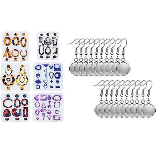 Nrpfell 1 Set 6 Styles Earring UV Resin Epoxy Molds Jewelry Tools & 40 Pcs Cabochon Setting Dangle Round Trays Base