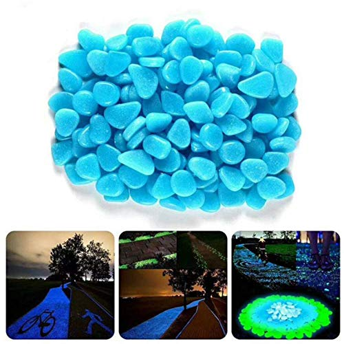 500 PCS Glow in The Dark Pebbles Stones, Garden Walkway Patio, Yard Pool Fish Tank and Party, Powered by Light and Solar, for Outdoor and Indoor
