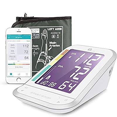 1byone Blood Pressure Monitor Upper Arm with Large Cuff, Bluetooth Automatic BP Monitor Machine Kit for Home (White)