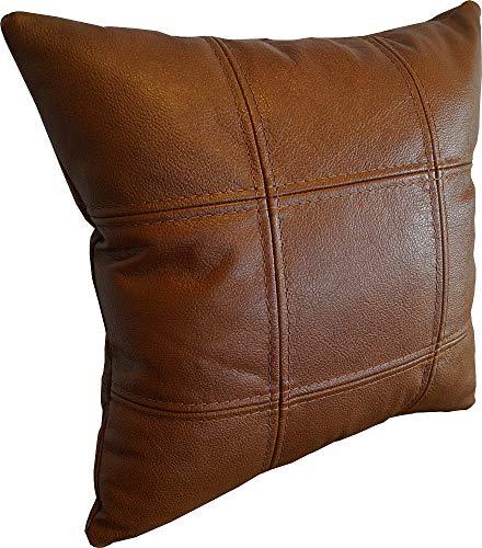 Quattro Meble Braun Echtleder Kissen Sofa & Stuhl Dekokissen Zierkissen Echtleder Rückenkissen Rindsleder Echt Leder Modell 18EL (40 x 40 cm)