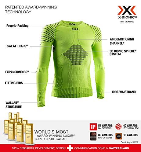 X-Bionic Invent 4.0 Round Neck Long Sleeves, Strato Base Camicia Funzionale Unisex Bambini, Green Lime/Black, M