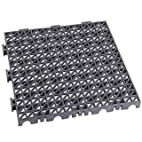 Pack de 12 losetas ventiladas antihumedad de PVC reforzadas para suelos de garajes - 33x33x2cm (Gris Oscuro)