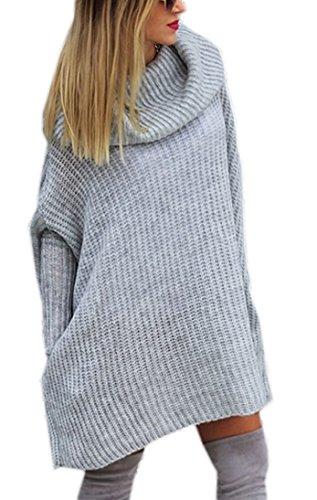 Mikos* Modischer Kuschelig Pulli mit Rollkragen Lässig Pullover Sweater Longshirt Tunika Strickpullover Oversize S M L (624) (Grau)