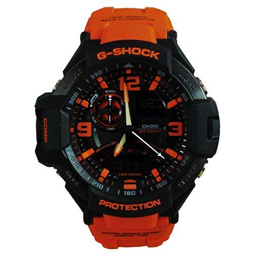G-Shock Sensor Unissex G-Aviation Twin GA1000-4A Preto/Laranja