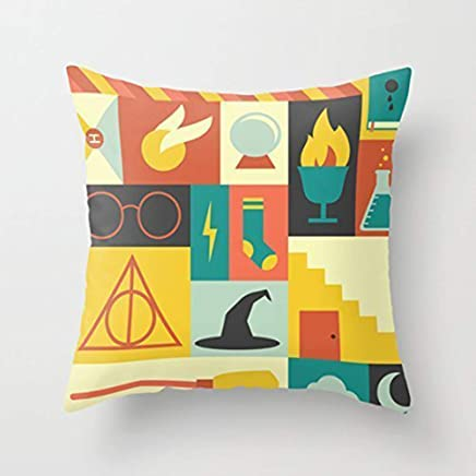 Yuehen Custom Harry Potter Colorful Decorative Pillows Zippered Pillow Case 18x18 (one Side) Home