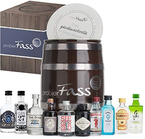 probierFass Gin Set | 10 originale Gin Miniaturen (8 x 0.05 l und 2 x 0.04 l) verpackt in einem originellen Fass mit Geschenkverpackung | Gin Geschenk | Gin Probierset | Gin Geschenkset
