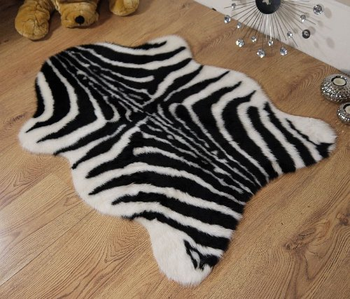 Rugs Supermarket Zebra animal print faux fur sheepskin single rug 70 x 100 cm