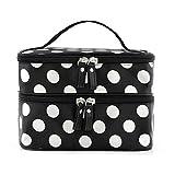 Tinksky Portable Polka Dots Muster Womens Double-Layer Dual Reißverschluß Kosmetiktasche Toiletry Bag Handtasche (schwarz + weiss)