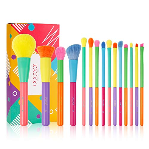 Docolor Makeup Brushes 15 Pcs Colourful Makeup Brush Set Premium Synthetic Kabuki Foundation Blending Face Powder Blush Concealers Eyeshadow Rainbow Make Up Brush Set  Dream of Color
