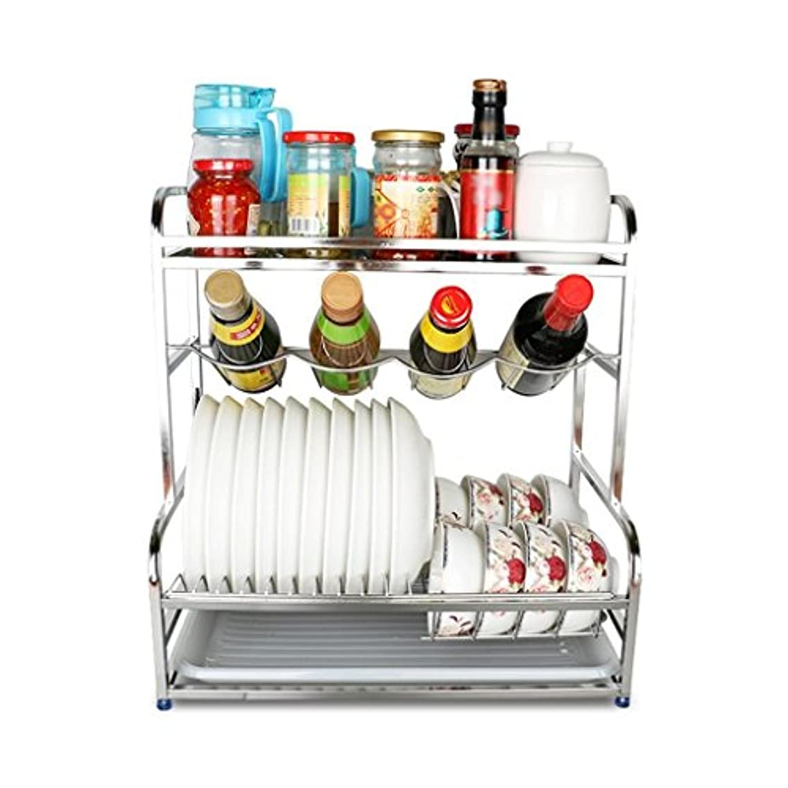 Standing Shelf Units for Living Room Kitchen Storage Kitchen Rack, 304 Stainless Steel Cutlery Rack, Condiment Rack Multifunctional Rack with Drain pan (Size : 432746)