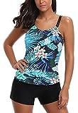 AYEEBOOY Bañador de Dos Piezas para Mujer Tamaño Grande Tankini Trajes de baño Bikini Set(2colorhp,L)
