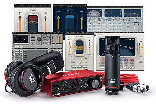 Focusrite Scarlett 2i2 Studio Package (3rd Gen) USB Audio Interface plus Waves Musicians 2 Recording Bundle