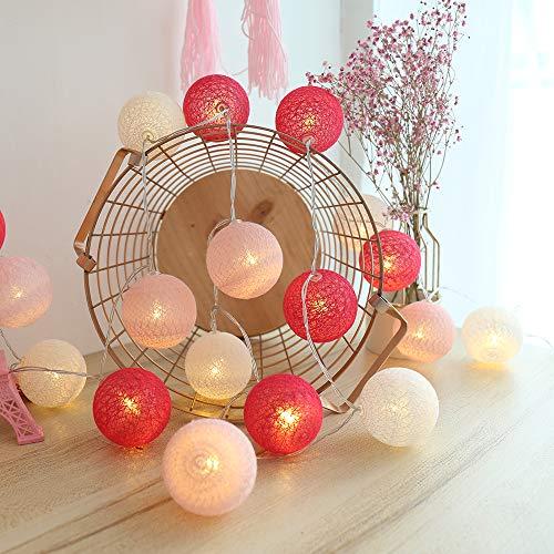 Lichterkette Cotton Ball, Kwode Cotton bälle Kette mit Batteriebetrieben, 3.5M 20er LED Kugel Light für Innen Mädchen Teenager Baby Zimmer Deko Terrasse Weihnachten Hochzeit Party (4cm akku rosa)