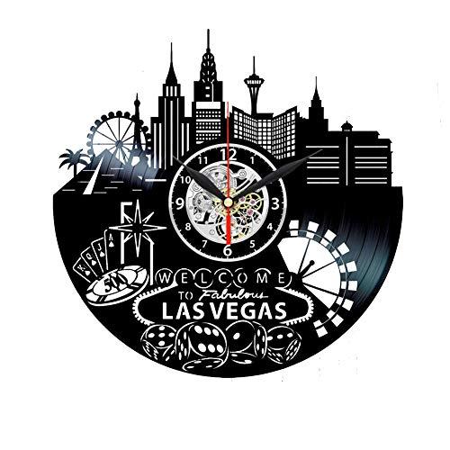 Las Vegas Reloj Skyline Vinilo Reloj Las Vegas Temed Regalos para Mujeres Decoración del Hogar