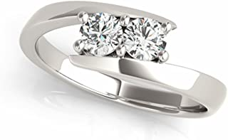Two-Stone Ring Forever US 1/4 ct tw Diamonds 14K Yellow,White or Rose Gold (White Gold, 7)