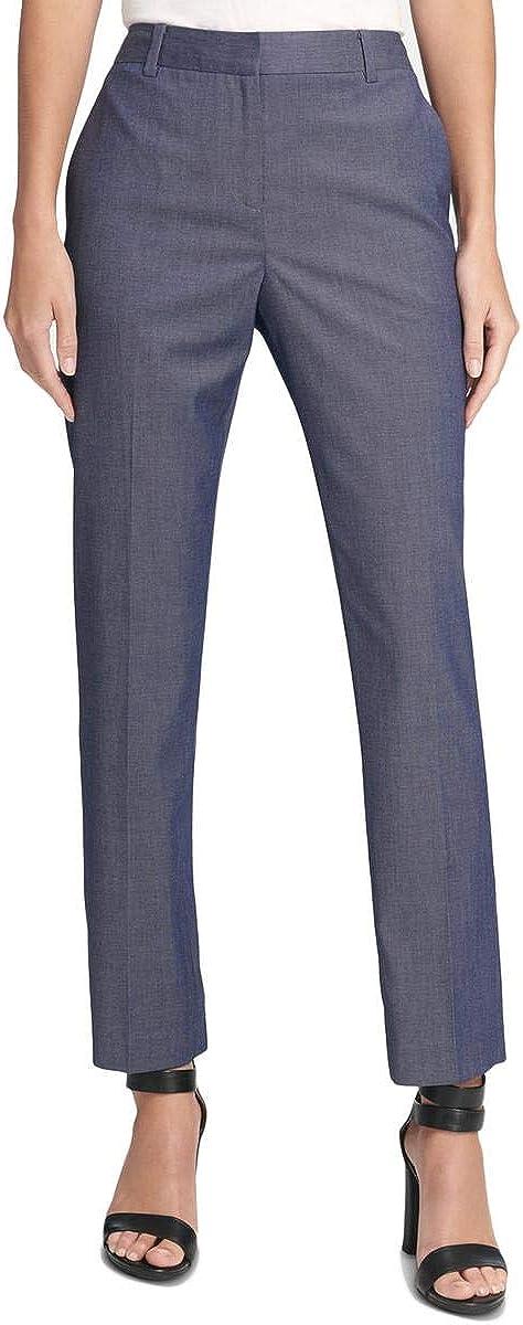 DKNY Womens Blue Straight Leg Wear to Work Pants Size 16