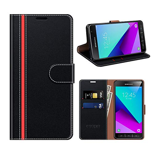 COODIO Samsung Galaxy Xcover 4 Hülle Leder, Galaxy Xcover 4 Kapphülle Tasche Leder Flip Cover Schutzhülle Rugged für Samsung Galaxy Xcover 4 Handyhülle, Schwarz/Rot