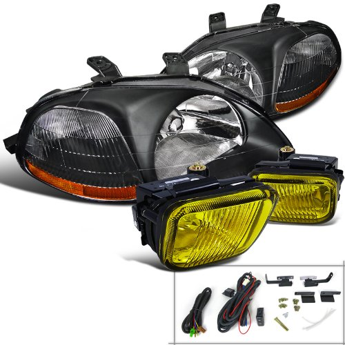 Honda Civic 2 3 4 Dr Dx Ex Black Headlights, Yellow Fog Lights
