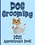 Dog Grooming 2021 Appointment Book: Daily Schedule Planner Diary For Pet Groomer / Barber / Hairdresser With Hourly Slots / 2021/2022 Calendar, Client Contact Details & Notes, Blue